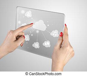 接口,  touchscreen, 雲, 計算