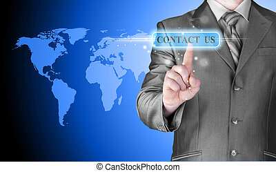 businessman hand pushing contact us button on a touch screen...