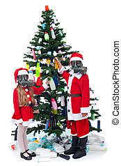 Christmas with plastic - environmental concept