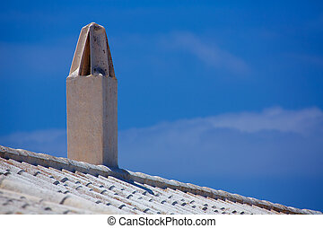 Binibequer Vell in Menorca White roof chimney Sant Lluis at...