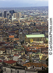 Foreshortening Naples - View of the historic center of...