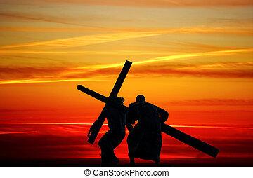 madeira, Arrastar, crucifixos