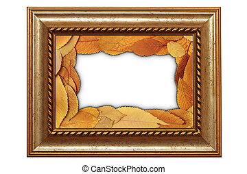 isolated old frame with leaves