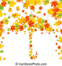 umbrella from autumn leaves isolated on white