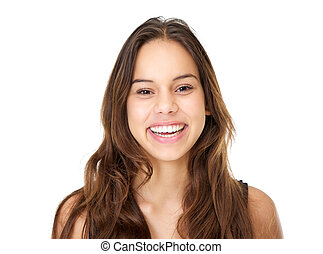 Portrait of a smiling young woman with long hair - Close up...