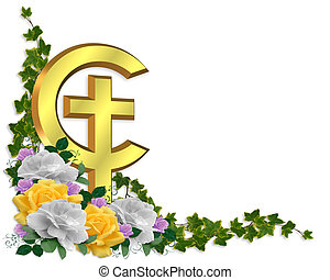 Easter Border Christian cross - Image and illustration...