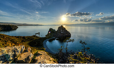 Shaman Rock, Island of Olkhon, Lake Baikal, Russia on a...