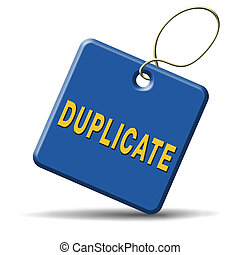 duplicate sign or icon double product or document label or...