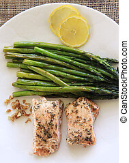 Asparagus and salmon - Grilled salmon with asparagus and...