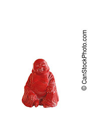 red buddah figurine isolated on white