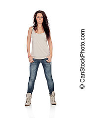Attractive casual girl with jeans isolated on a white...
