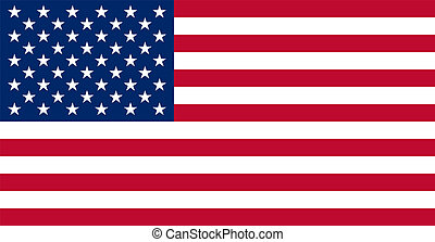 American USA Flag With Real Colours And Proportions Vector...