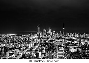 Downtown Toronto at night - Full view of downtown Toronto at...