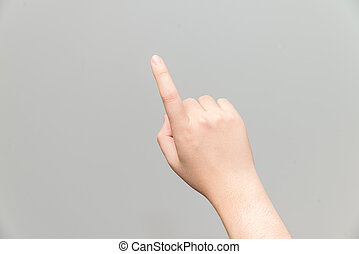 Hand with one finger pointing - Human hand with one finger...