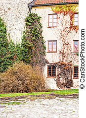 Green wall of Beauty old Palace in Pieskowa Skala - Poland,...
