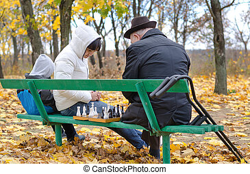 Three generations of a family playing chess in park beanch