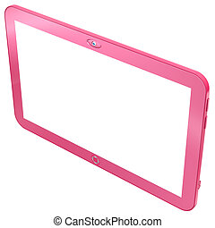 Glamorous pink tablet PC isolated on white background. Abstract 3d render.