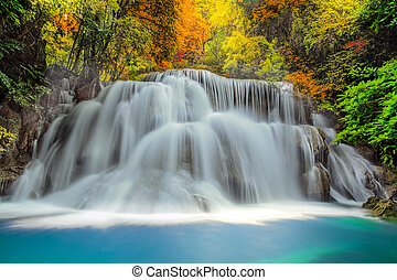 Waterfall - Landscspe of Waterfall with morening sunsise and...