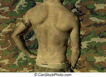 Camo 009 - Shirtless youth with tribal tattoo on military...