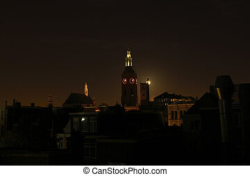 Night Hague - Night view of Hague and Sint-Jacobskerk church