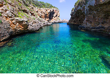 sAlgar beach Cala Rafalet in Menorca at Balearic Islands of...