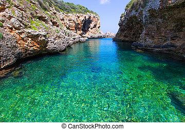 sAlgar beach Cala Rafalet in Menorca at Balearic Islands of...