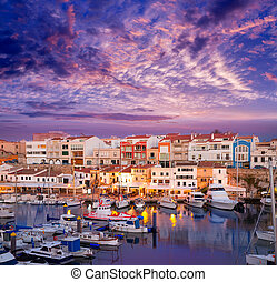 Ciutadella Menorca marina Port sunset with boats and...