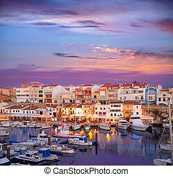 Ciutadella Menorca marina Port sunset with boats and...