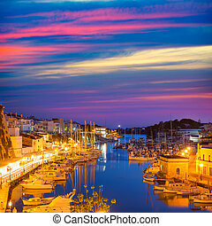 Ciutadella Menorca marina Port sunset town hall and...