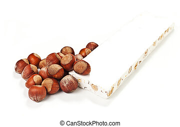French nougat on a white background - Sweet nougat with...