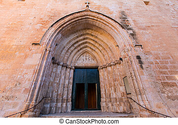 Ciutadella Menorca Cathedral side door detail at Balearics -...