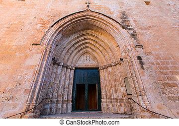 ciutadella, Menorca, catedral, lado, PORTA, detalhe,...