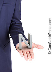 Business man holding a 3d letter in hand palm, isolated on...