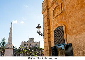 Ciutadella Menorca Placa des Born in downtown Ciudadela at...