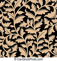 Floral seamless pattern with flourish elements in retro...