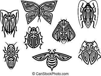 Insect tattoos in tribal style isolated on white background