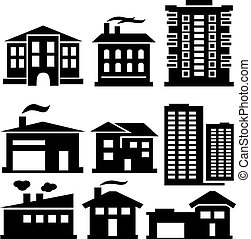 silhouettes of buildings - vector set of various buildings