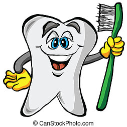 Tooth Holding a Toothbrush - Vector Illustration of a Tooth...
