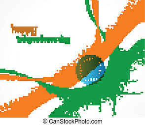 Beautiful grunge wave indian flag vector design