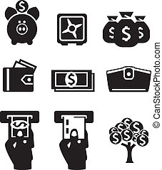 Money icons set - Money icons vector set