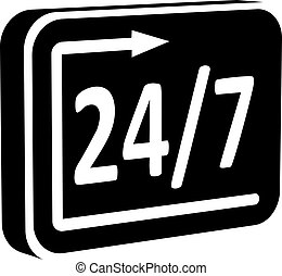 sign 24/7 - Vector black-and-white sign - full 24/7...