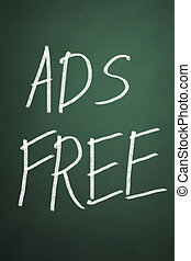 Ads free words on chalkboard background