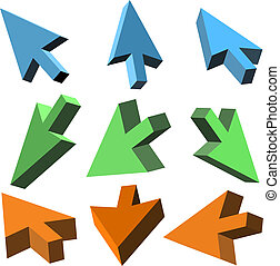 Vector 3D cursors on white background