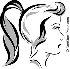Vector illustration of girl head with a ponytail