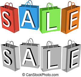 Vector sale poster composed from colorful/gray paper shopping bags