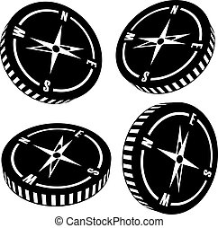 Vector compass silhouettes on white background