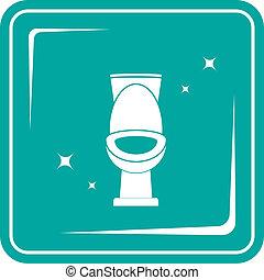 blue icon with shiny white toilet