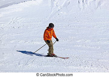 Skier at mountains ski resort Innsbruck - Austria - Skier at...