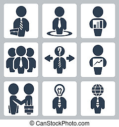 Vector isolated businessman icons set