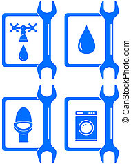 icons for plumbing repair - set water icons for plumbing...
